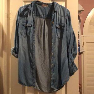 Oversized denim blouse